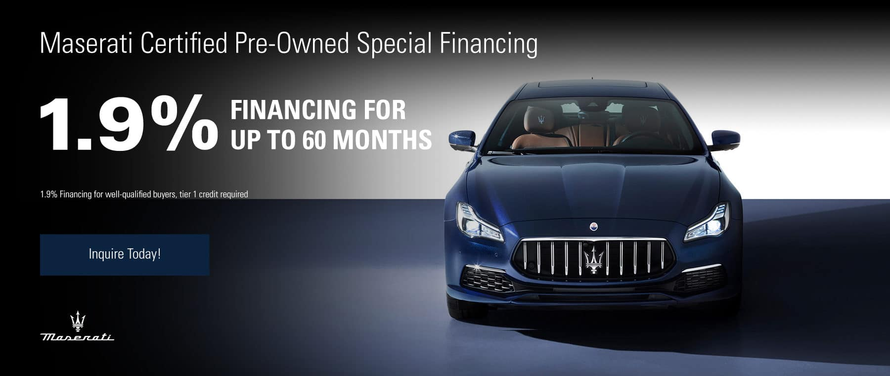 Maserati Certified Pre-Owned Special Financing 1.9% Financing for up to 60 months