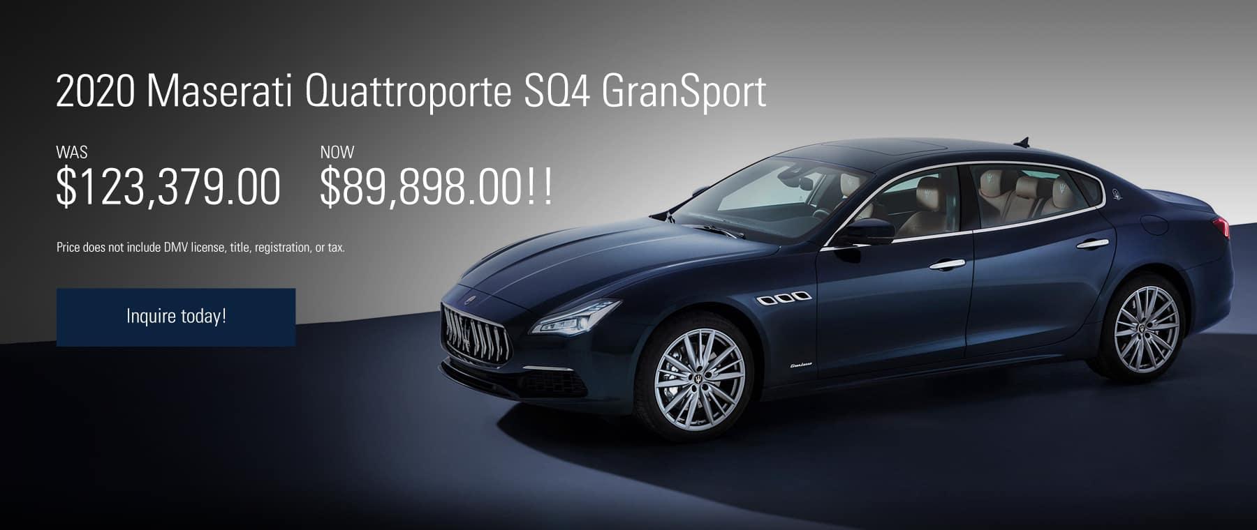 2020 Quattroporte Offer, WAS $123,379.00, NOW $89,898.00!!