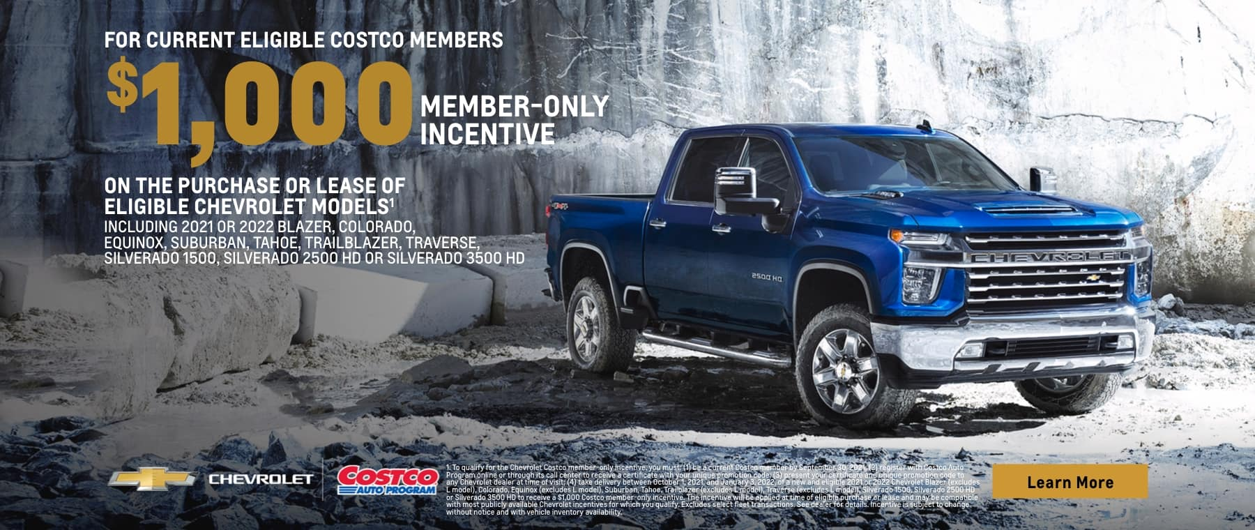 For current eligible Costco members, up to $1000 member only incentive on certain Chevrolet models