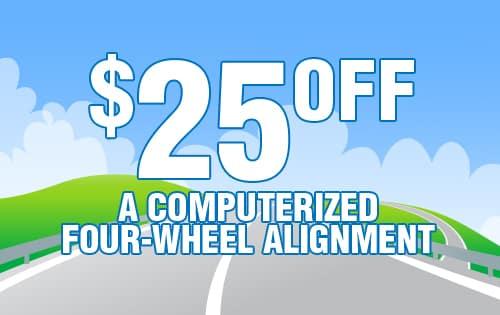 $25 OFF Wheel Alignment