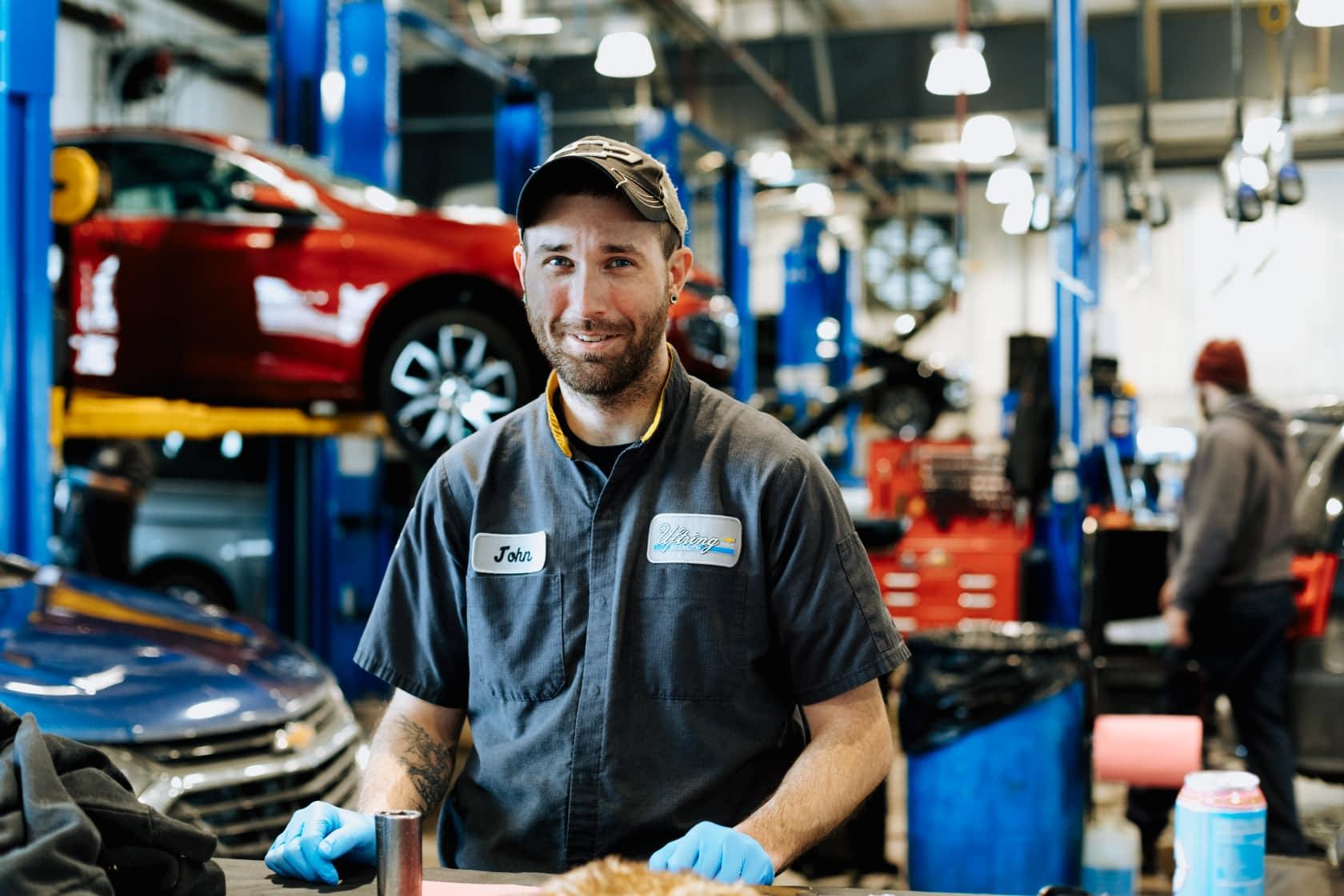 Service technician replacing a break