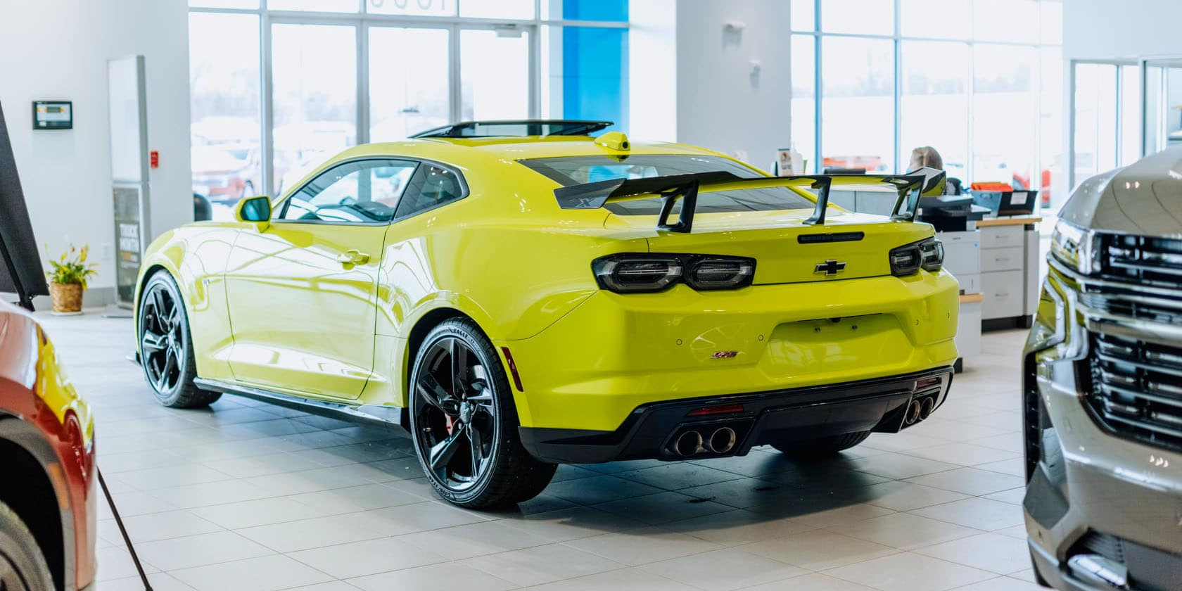 Chevy Camaro in showroom
