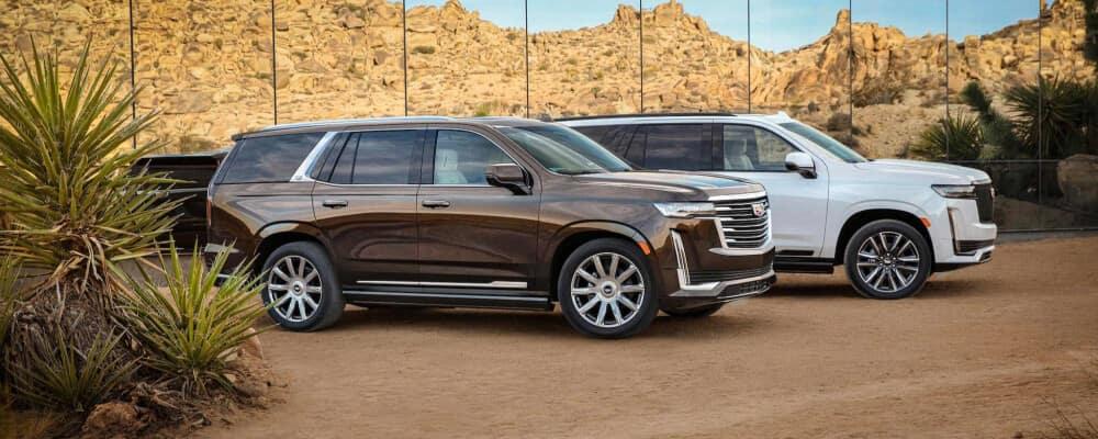 2021 Cadillacs on a dirt road