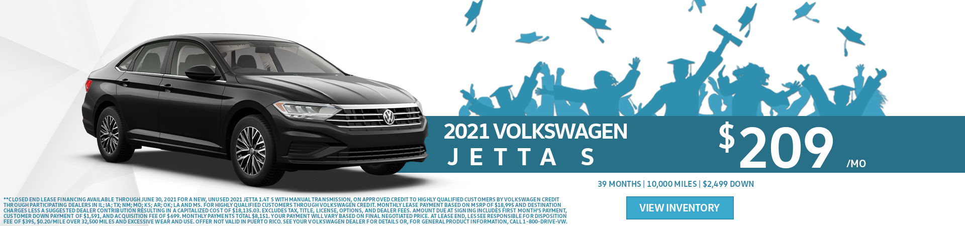 2021 Jetta S Lease for $209 per month for 39 months with $2499 due at signing