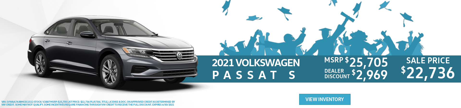 2021 Passat Offer for $2,969 Off MSRP with a Sales Price of $22,736