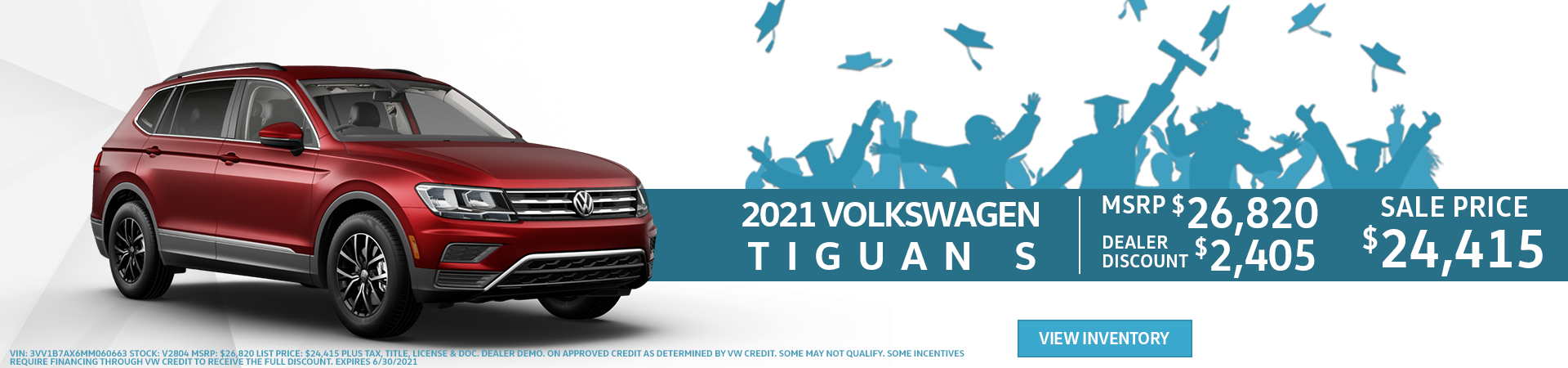 Red 2021 Volkswagen Tiguan Offered for $24,415